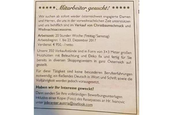 Erpressungsversuch mit Jobinserat in der Kleinen Zeitung vom 18.November 2017