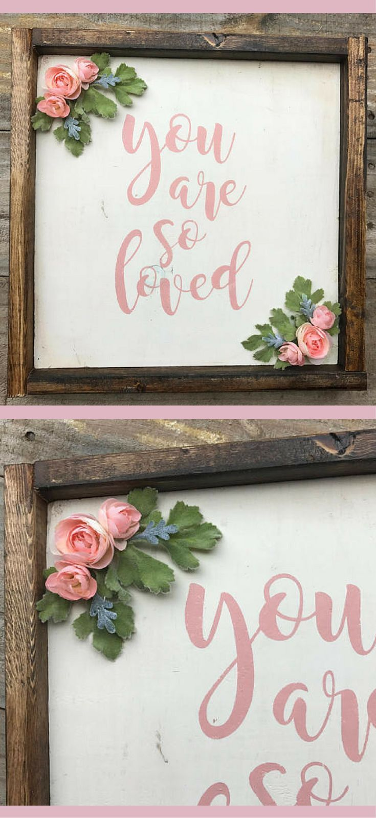 "Sweet little nursery wall art! Floral flower Nursery ""you are so loved"", rustic nursery decor, rustic frame reclaimed pallet wood sign, floral nursery sign little girl room, boho baby girl nursery #affiliate #rusticnursery #bohobaby"