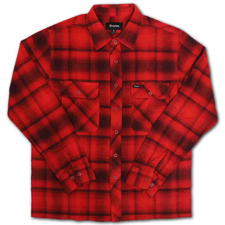 Brixton Archie Flannel Shirt Red Burgundy