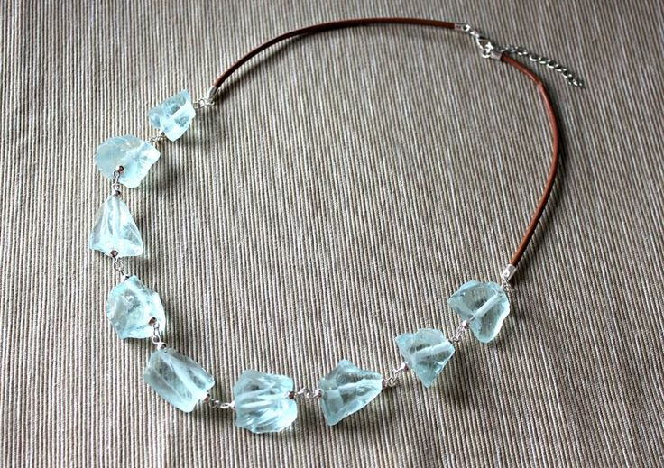 Necklace with aquamarine and leather strap from Especially for You Available on http://en.dawanda.com/shop/Especially-4-You  facebook.com/especiallyfryou