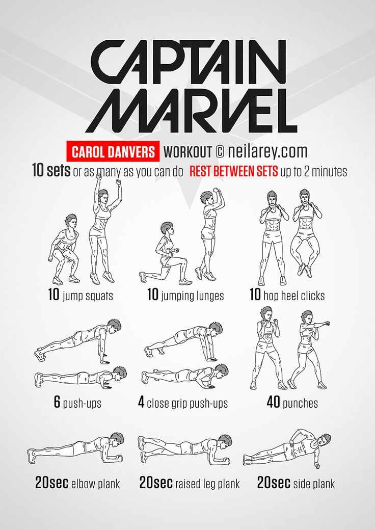 Captain Marvel workout 3 sets 60 120 120 seconds