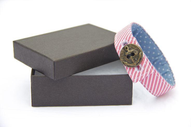 Material Anchor Bracelet -  Hot Pink & Baby Blue