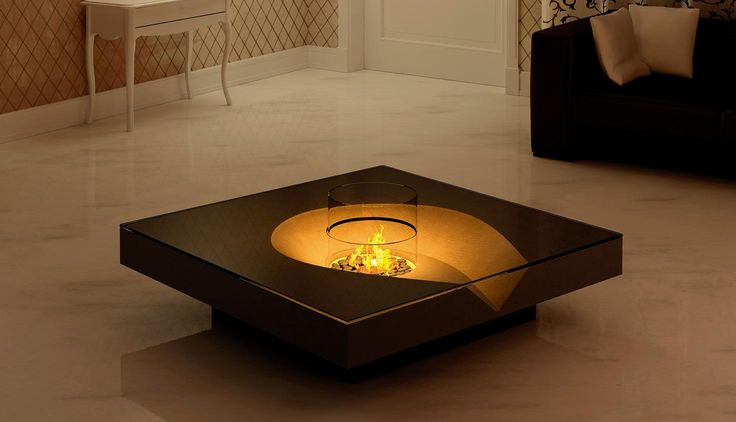smart indoor small electric fire pit ideas as coffee table set in the middle space with square brown table also classic white cabinet