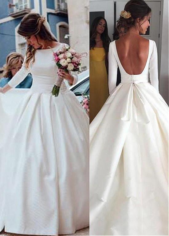 [158.99] Simple Satin Bateau Neckline Backless Natural Waistline A-line Wedding Dress