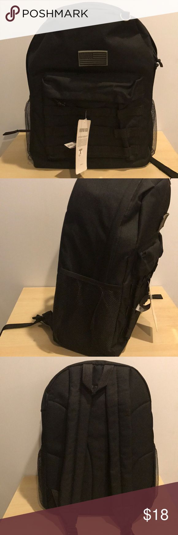 "Black basic tactical backpack Nwt regular basic backpack size 18""x13.5""x7"". 1 front pocket with Molle straps. 1 main compartment. 2 mesh sides. D-ring. Comes with small American flag Velcro patch . Bags Backpacks"
