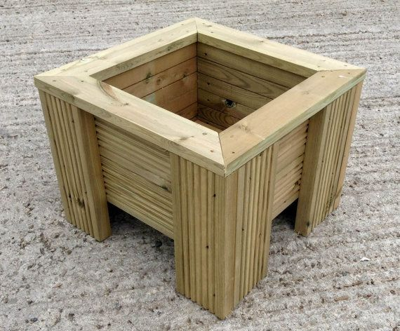 Premium Square Wooden Decking Planter 470mm wide x 360mm high The inside measures 300mm wide x 235mm deep New Planters handmade at our local timber yard, made from treated decking boards. Each planter has holes in the base for drainage. These planters are really high quality and will last for years
