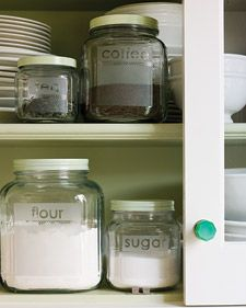 "Clever DIY etched labels! tape off ""label area"", then firmly place vinyl letters. Apply glass etching cream, following directions and safety precautions! Rinse (in stainless sink) and remove letters and tape! Great idea for repurposed jars! Click to read directions from Martha Stewart:: Keep pantry staples organized with a set of glass storage jars customized with etched lettering."