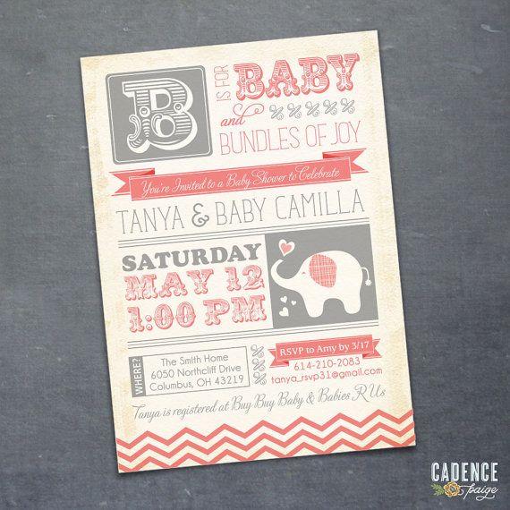 Baby Shower Invitation Elephant Baby Shower by CadencePaige, $18.50