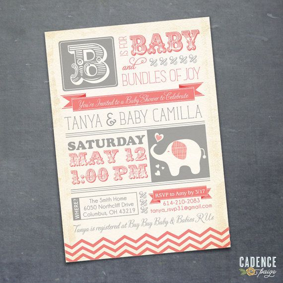 Baby Shower Invitation Elephant Baby Shower by CadencePaige, $18.50
