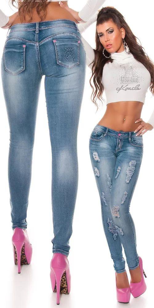 Skinny džíny s ažurami