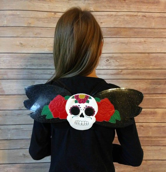 Sugar Skull Wings in Black Glitter Vinyl with Colorful Embroidery Details, Elastic Straps, For Hallo