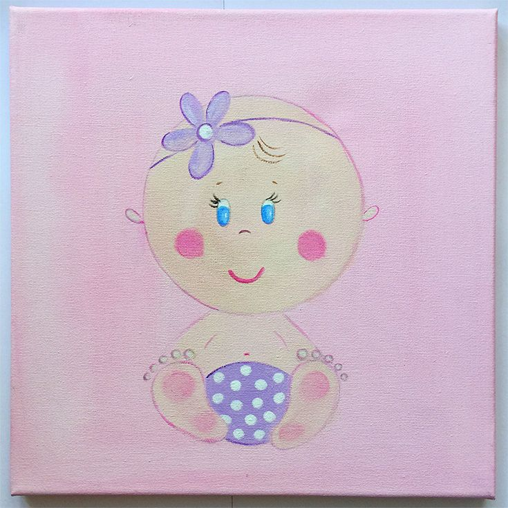 Handmade children's canvas painting with a baby in shades of pink, lilac and beige.