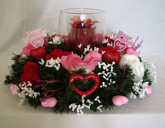 Valentines day decor table centerpiece candle