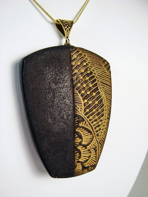 Handmade Textured Black and Gold Polymer Clay Necklace by Creative Art Center, via Flickr