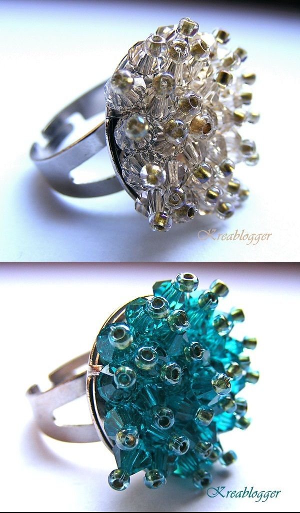 Fashionable rings made from Swarovski beads
