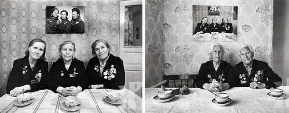 Tres hermanas, militares soviéticas, fotografiadas a lo largo de 50 años