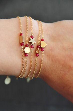 Bracelet géométrique en laiton (étoile, coeur, vague, hexagone, triangle au choix) et perles de Grenat semi précieuses naturelles -  Myo jewel