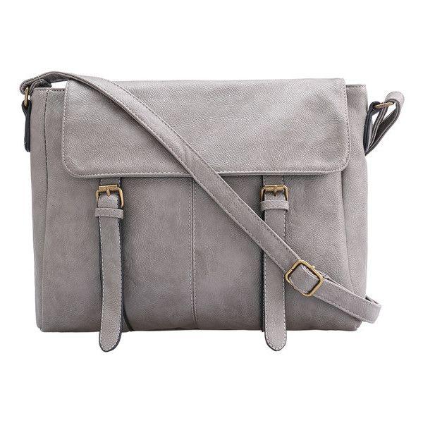 Grey Buckle PU Shoulder Bag (120 PLN) ❤ liked on Polyvore featuring bags, handbags, shoulder bags, grey, mini shoulder bag, metallic handbags, gray handbags, messenger bag purse and shoulder strap bag