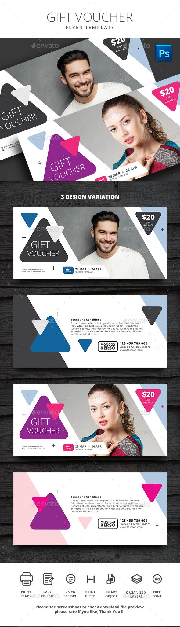 Gift Voucher Template PSD