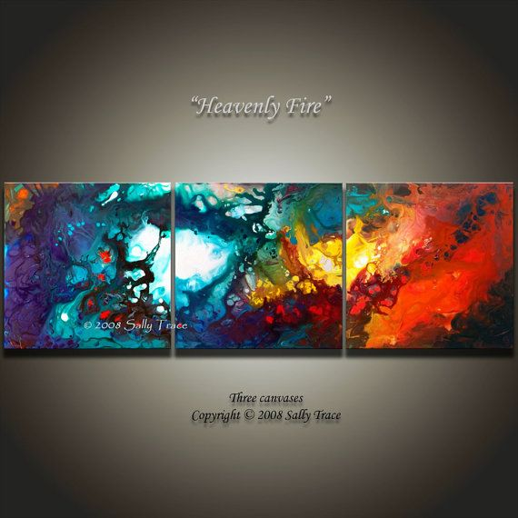 Stretched Canvas Giclee from my original painting Heavenly Fire, abstract three canvas painting by Sally Trace, spiritual art