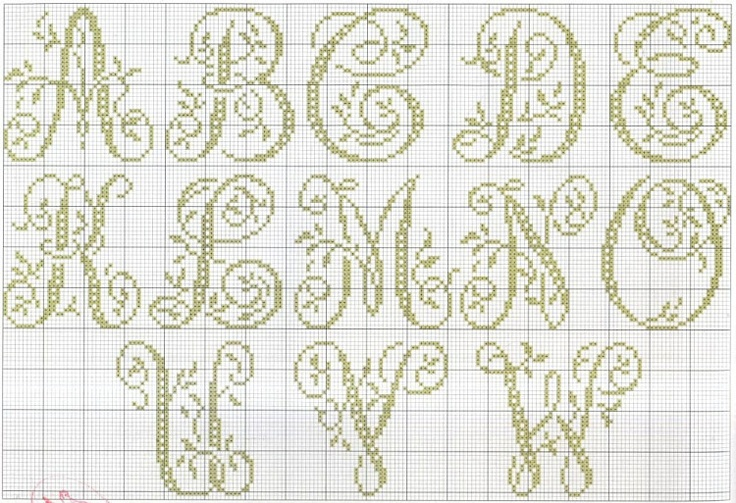 Cross-stitch Alphabets with Vines, part 1... no color chart use pattern chart as your guide..    Gallery.ru / Фото #24 - MONOGRAMS 2 - aaadelayda