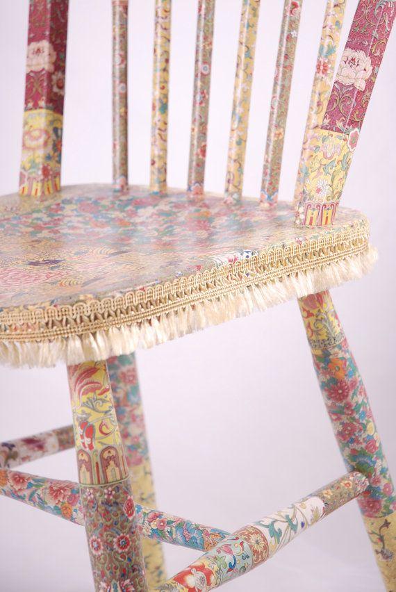 "OOAK Wooden decoupage chair ""Olivia"""