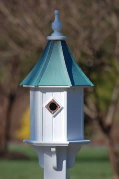 Aged Patina Copper Roof Bluebird House is constructed of PVC/Vinyl to last a lifetime. Classic design features one compartment complete with copper predator guard. Components are manufactured on a CNC