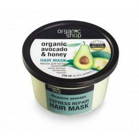 Organic Shop - Maska do włosów ORGANICZNE AWOKADO I MIÓD - natychmiastowa regeneracja