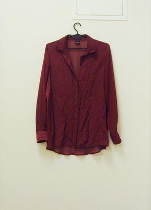 Kup mój przedmiot na #vintedpl http://www.vinted.pl/damska-odziez/koszule/14002223-koszula-bluzka-koszulowa-gina-tricot-bordo-bordowy-przeswitujaca-mgielka-oversize-36-s