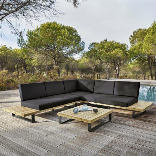 4 5 Sitzer Gartensitzgarnitur Aus Aluminium Und Massivem Akazienholz Maisons Du Monde Sitzgelegenheiten Im Freien Diy Terrasse Sitzbank Garten