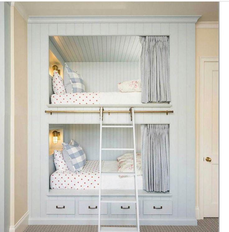 Sweet baby blue built in bunk beds in