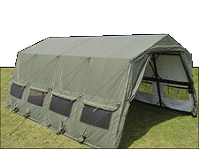 The LME  - Modular design can be extended in 16ft increments to any length desired. Light wight design supported by an aluminum frame. Maintains structual integrity in adverse weather conditions better than pole tents design. The Lightweight Maintenance tent provides rapid deployment and forward maintenance elements without sacrifying mobility due to it's light weight ( 1332 LBS  non packed).
