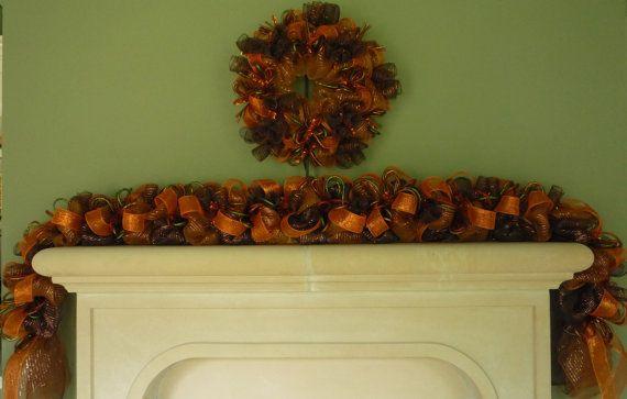 Fall Garland, Garland for Doors, Autumn Garland, Fall Mesh Garland, Burnt Orange Chocolate Copper Item 1137 on Etsy, $90.00