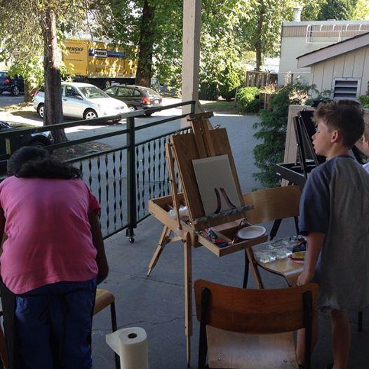 Teacher Strike Camp - Children painting trees en Plein Air - Artist of the day was Emily Carr