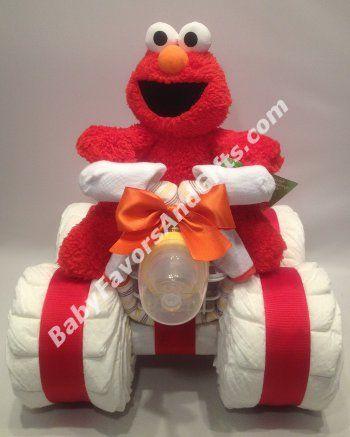 Elmo 4-Wheeler Diaper Cake - 9990418 - Baby Girl - Diaper Cakes - by Babyfavorsandgifts