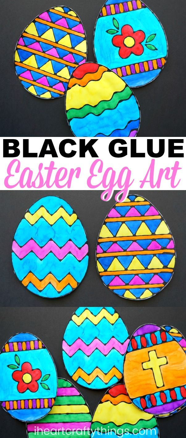 Colorful Easter Egg Black Glue Art Project   I Heart Crafty Things- a favorite project we created last Easter so this year we've upped our game with these beautiful templates for creating an Easter egg black glue art project. There are a dozen templates in all including a blank egg template for those who want to create their own design, or for preschoolers who might have a difficult time tracing the lines of the template.