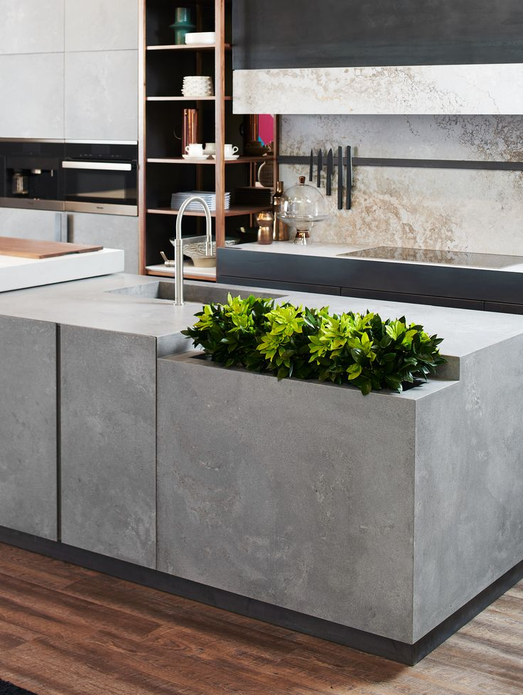 Island 4033 Rugged Concrete Kitchen Caesarstone