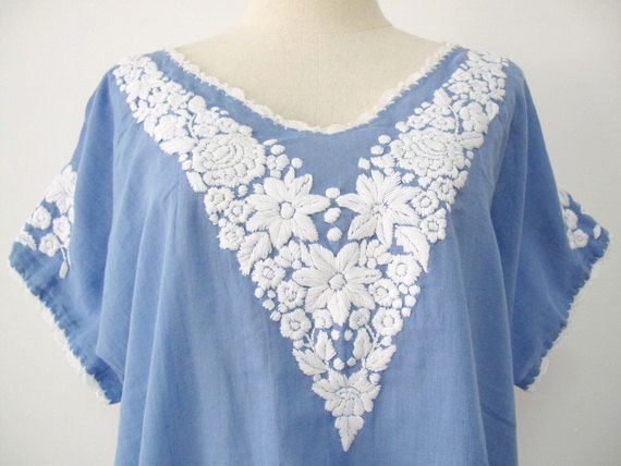 Embroidered Mexican Blouse Short Sleeve Cotton Top In Blue, Boho Blouse