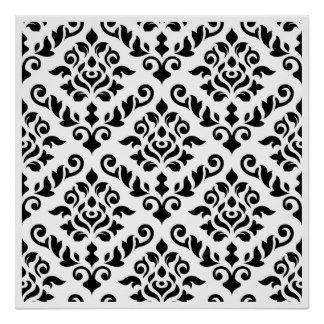 Preto barroco do teste padrão do damasco no branco pôster