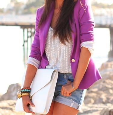 purple blazerLight Pink Blazers, Fashion, Style, Colors Blazers, Purple Blazers, Denim Shorts, Spring Outfit, Jeans Shorts, Pink Blazers