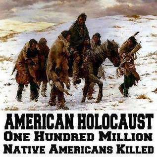 In the 1910, the total population of North American Indians was about 400,000, down from about 18 -19 million in 1492 http://www.visualstatistics.net/east-west/genocide/genocide.htm