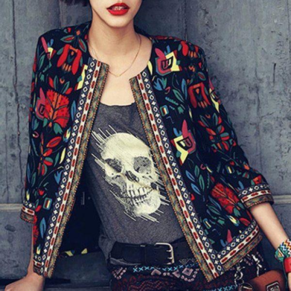 Ethnic Style Colorful Printed Jewel Neck 3/4 Sleeve Jacket