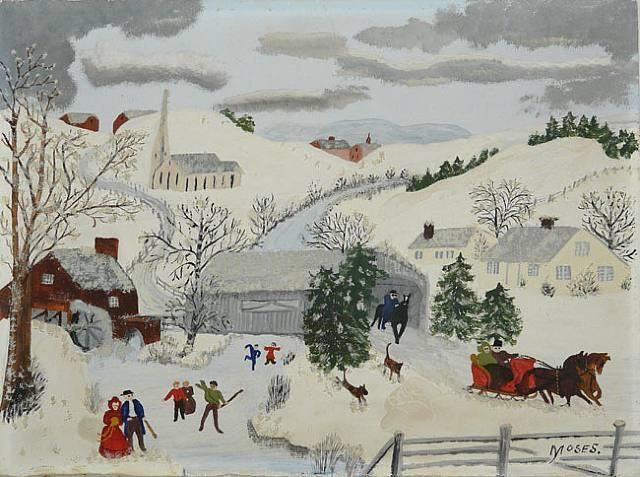 """""""We Love to Skate"""", Oil by Grandma Moses (Anna Robertson) (1860-1961, United States)"""