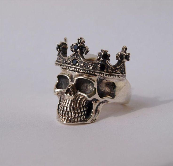 Crown Skull Ring - Solid 925 Sterling Silver - Handmade #BlackSnowCustom