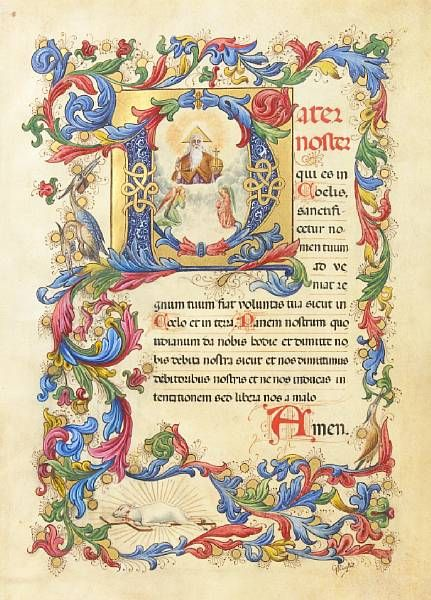 Illuminated Manuscript: the Lord's Prayer, the Ave Maria, and the Gloria Patri  G. Righi, Italy, early 20th Century