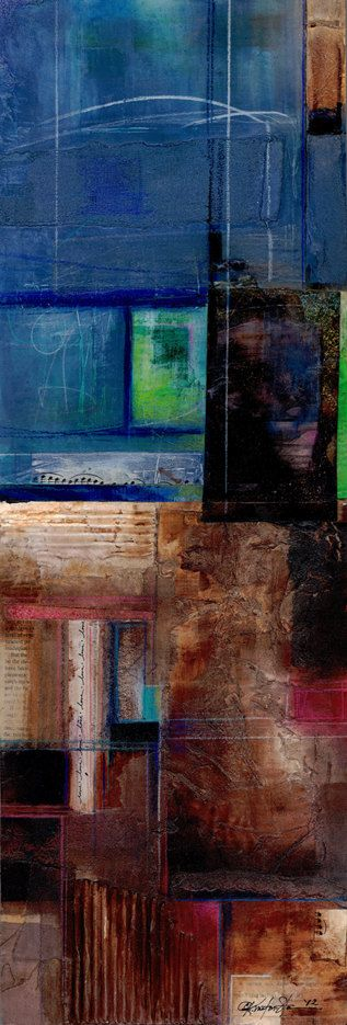 Hidden Secrets ... No.1...  Original Contemporary Modern mixed media art painting ready to hang by Kathy Morton Stanion EBSQ