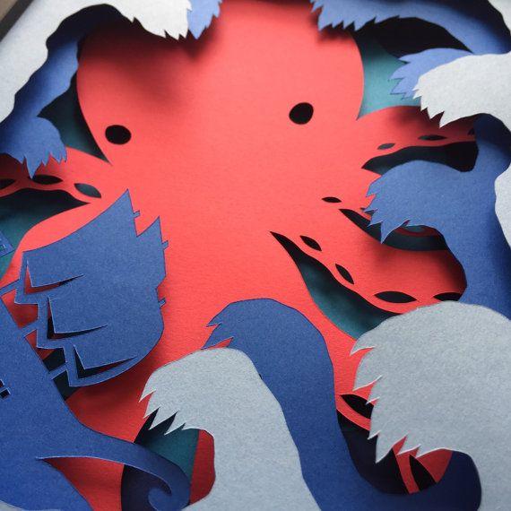 3D en couches Diorama Kraken océan