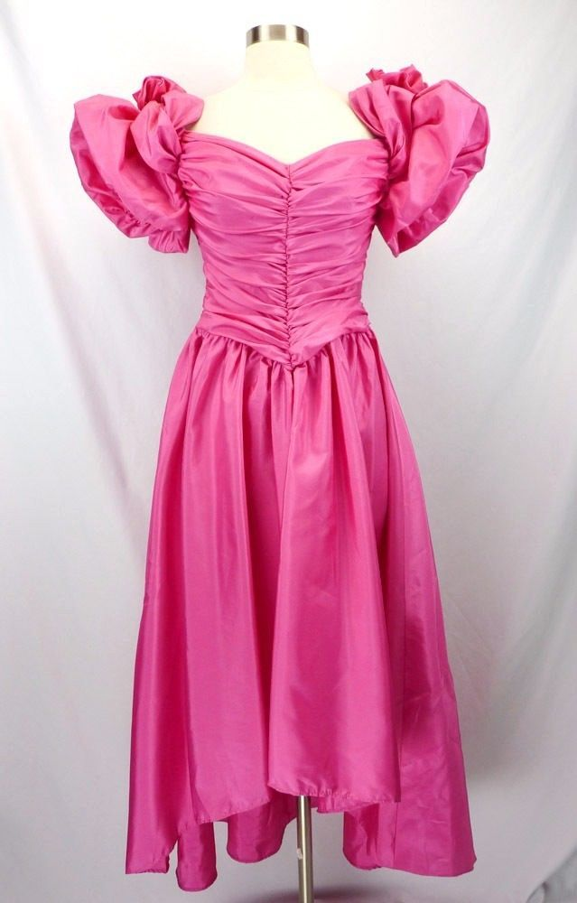 Vintage 80s Hot Pink Prom Dress PUFF Sleeves Ruched HiLo