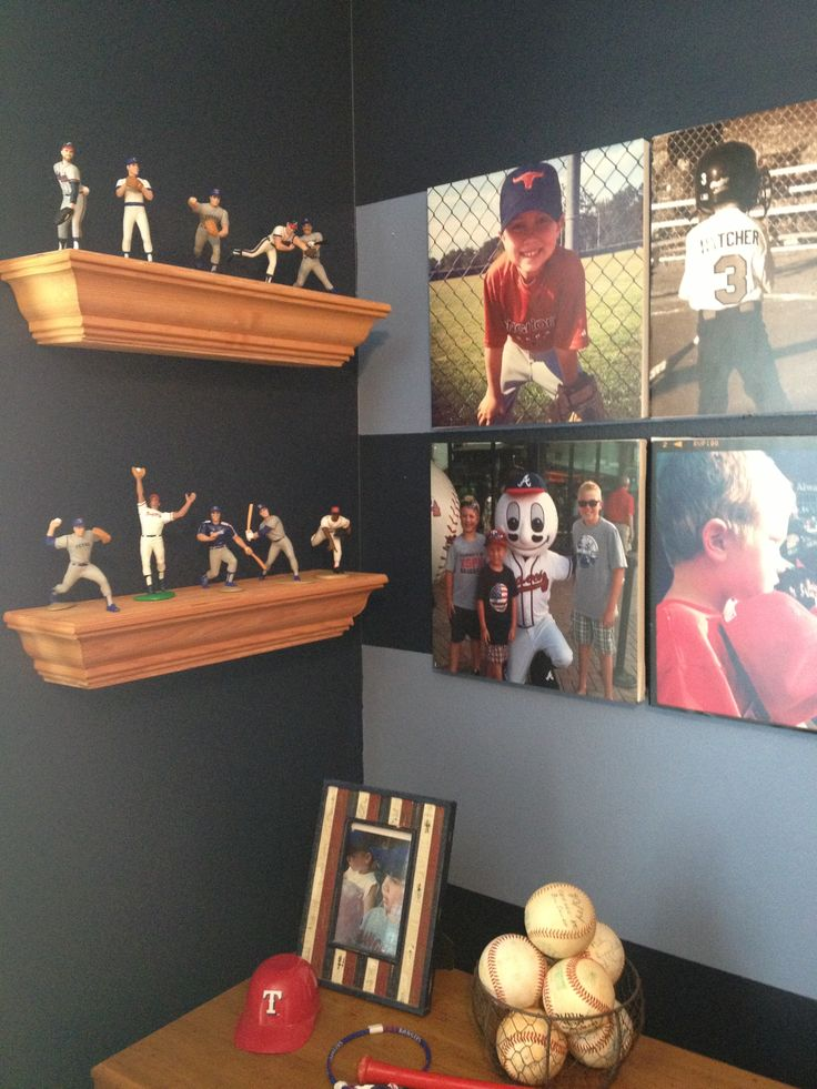 Baseball room www.theturquoisegiraffe.com Love the idea of canvas prints using photos of him taken during games.