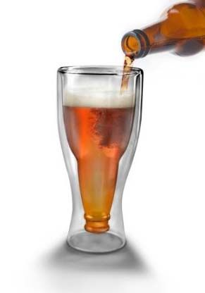 Upside Down Beer Bottle Glass - Cool gift for beer lovers.